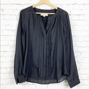 Loft Long Sleeve Charcoal Blouse